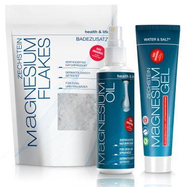 Zechstein Magnesium 3er-Set, Magnesium-Gel, Magnesium-Oil, Magnesium-Flakes